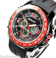 Mens Henley BIG Red Black Analogue Digital Sports Watch Alarm Light Chronograph