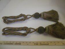 """2 Decorative  DRAPERY TIE-BACKS w / 9"""" Tassel OLIVE/GREEN/GOLD Curtain Trim P576"""
