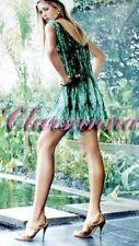 $3870 Prada Feather Logo Printed Pleated Scarf Chiffon Runway Tunic Dress 40