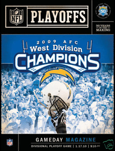 2009 NEW YORK JETS SAN DIEGO CHARGERS AFC DIVISIONAL PLAYOFF GAME PROGRAM 1/17