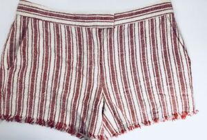 Rachel Zoe Women's Verti Short Size 2 Ivory Brick Striped Textured Cotton Linen.