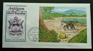 [SJ] Antigua and Barbuda West Indies Giant Rice Rat 1989 Coconut Fauna Mouse FDC