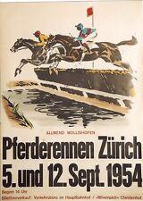 Original Plakat - Pferderennen Zürich - Allmend Wollishofen