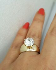 Big 3 carat 14k Yellow Gold Solitaire round man made Diamond Engagement Ring S7