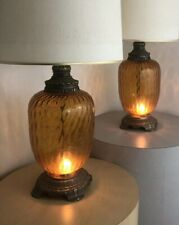 Pair Vintage Mid Century Crusaders Amber Glass Light Up Base Circa 1970s Lamps
