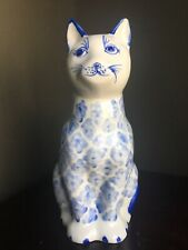 Hand painted Blue & White Ceramic Cat Made In Thailand