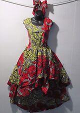 Dress Fits L XL Red Black Gold African Wax Print Ankara Layered Hi-Lo NWT 1624