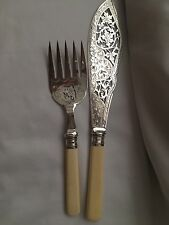Vintage Ornate Silver Plated / Solid Silver Ring Fish Serving Set