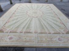 Old Hand Made French Design Aubusson Wool Beige Green Large Aubusson 453X370cm