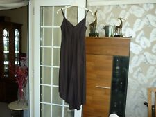 Linea long dress, size 10 UK, dark brown linen, strappy, used 1 cruise