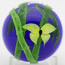 """Outstanding DANIEL SALAZAR Vibrant BUTTERFLY & BAMBOO Art Glass PAPERWEIGHT 3.1"""""""