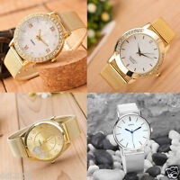 Classic Women's Crystal Dial Roman Gold Mesh Band Quartz Bracelet Wrist Watches