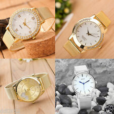 Classic Women's Crystal Dial Roman Gold Mesh Band Quartz Bracelet Wrist Watches