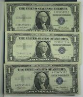$1 SILVER CERTIFICATE AVERAGE CIRCULATED EACH LOT IS 3 NOTES