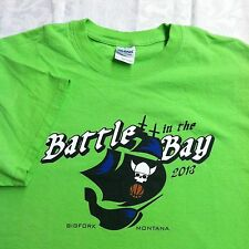 Battle In The Bay Bigfork Montana Pirate Graphic Bright Green Tee Shirt New