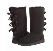 NIB UGG K Bailey Bow Black Tall Boots Big Girl Size 1