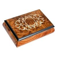 """Arabesque Matte Italian Hand Crafted Inlaid Elm Wood Box """"Somewhere in Time"""""""