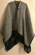 PRIMARK FRINGED SOFT SHAWL WRAP CARDIGAN PONCHO GREY AND BLACK BNWT - FREEPOST