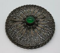 Vintage Sterling Silver Brooch Pin 925 Filigree Green Glass Jade Color Round