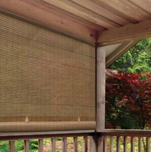 NEW Light Filtering UV Protection Interior Exterior Roll up Shade - Woodgrain