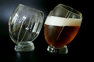 TWO PINT GLASSES SHAPED AS RUGBY BALL