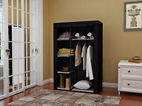 "64"" Portable Closet Storage Organizer Clothes Wardrobe Shoe Rack Shelves Black"