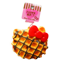 SANRIO HELLO KITTY Waffle Cute Kawaii Rare Squishy Toy Keychain Cellphone Charm
