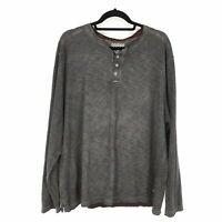 True Grit Mens Size XXL Henley Long Sleeve Shirt Gray Wash
