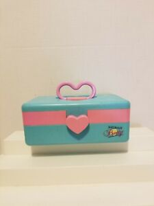 Vintage Naturally Pretty Make Up Case Heart Cosmetic Luggage Mirror Blue & Pink