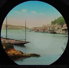 HAND COLOURED Glass Magic Lantern Slide FOWEY HARBOUR C1890 PHOTO CORNWALL