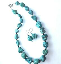 Handmade Geniune Turquoise Necklace 19 inches Free Earrings Set