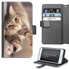 BROWN CAT PAWS LEATHER WALLET PHONE CASE, FLIP CASE, PHONE COVER