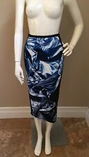 LuBlu Kira Plastinina Stretch Pencil Skirt w/Abstract Blue Contrast Panel S NWOT