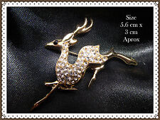 Beautiful Rhinestone Reindeer Brooch,Gift Idea,Deer,Gold Colour,Pin,Gems,Stag