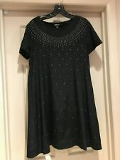 DKNY Size 4 Black Studded A Line Dress with (2) Side Pockets EUC
