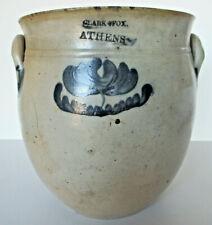 Antique American salt-glaze pottery crock, Clark & Fox, excellent condition