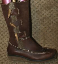 ICKIE & SHU Boots 6 Brown Leather Suede Faux Fur Wood Antler Toggle Anorak Nordi