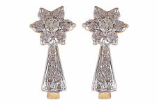 0.60 Cts Round Brilliant Cut Diamonds Huggie Earrings In Solid Hallmark 18K Gold