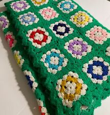 Vintage Hand Made Granny Square Crochet Afghan Throw Blanket Green Multi 66 x 74
