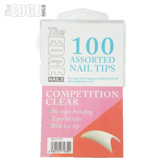The Edge Nails 100 x Competition Clear Assorted False Nail Tips Thin & Flexible
