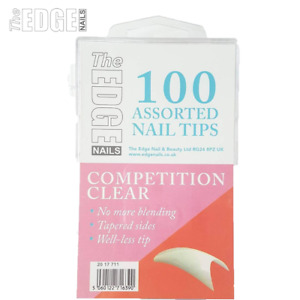 Edge Nails 100 x Competition Clear Assorted False Nail Tips Thin & Flexible