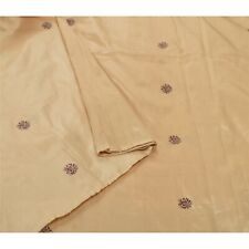 Sanskriti Vintage Cream Sarees 100% Pure Silk Woven Sari Premium Craft Fabric