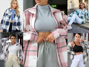 New Women Check Fleece Casual Jacket Shacket Top Coat Tunic Oversized Baggy 8-14