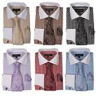 Men's Fashion French Cuff Dress Shirt with Tie, Handkerchief and Cufflinks