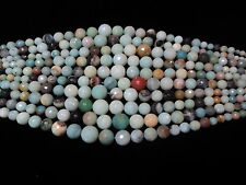 Black Cloud Amazonite Faceted Graduated Round 6-16mm Approx. 16 inch Strand