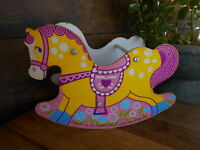 1976 Mattel Rocking Horse for doll pink yellow blue Particle board collectible