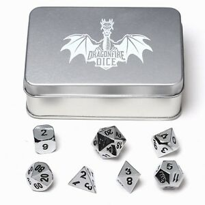 Dragonfire Dice Chrome Metal Dice - Full Polyhedral Set - In Presentation Case