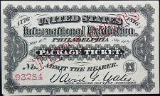 1876 50 CENTS PHILIDELPHIA UNITED STATES INTERNATIONAL EXHIBITION PACKAGE TICKET