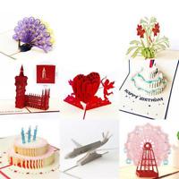 5x POP UP 3D Klappkarte Glückwunschkarte Grußkarte Einladung Karte Cherrylove