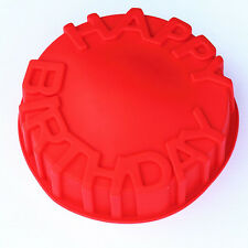 Happy Birthday Cake Round Circle Mold Pan Baking Bakeware Tray Silicone Mould